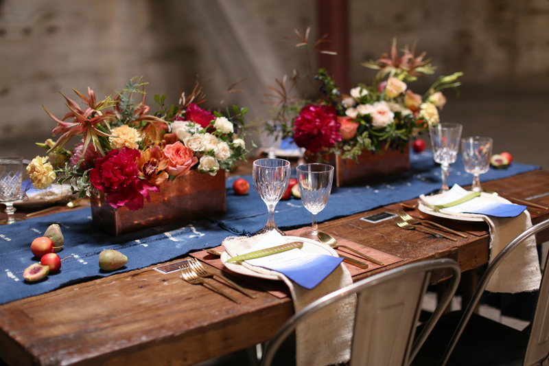 red and blue table