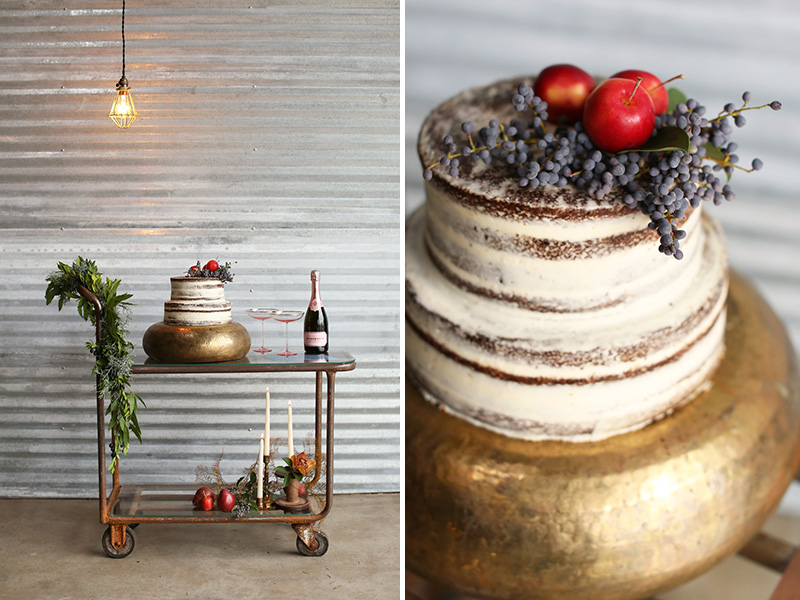 cake table, gold naked cake