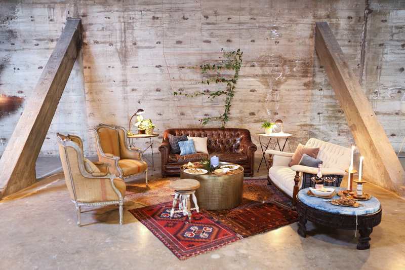 rustic industrial lounge area