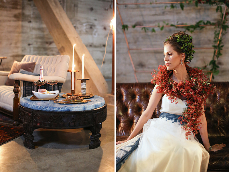 rustic lounge area, non-traditional bridal beauty