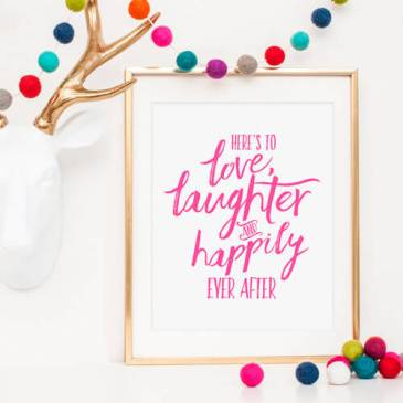 Love and Laughter Hot Pink Print