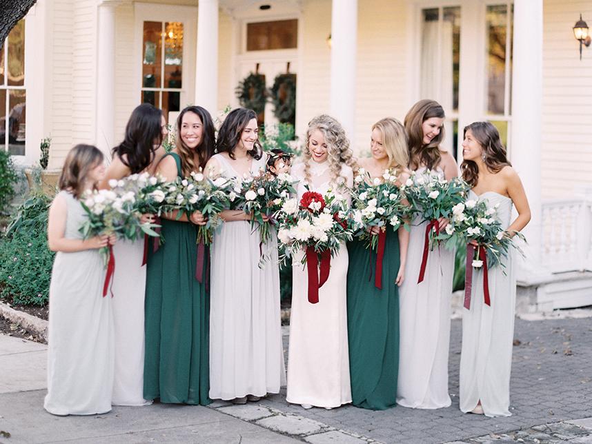 Wedding Trend: Soft Grey-Blue Bridesmaid Dresses