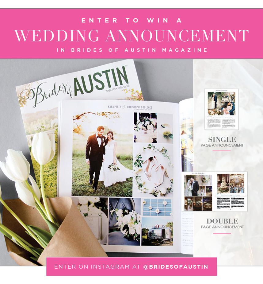 Win A Free Wedding Announcement In Brides Of Austin Magazine