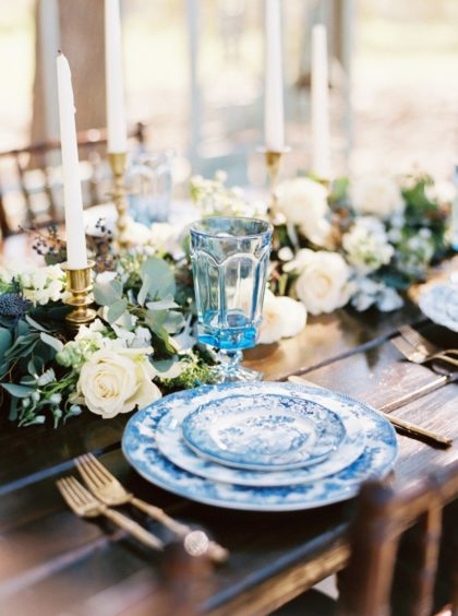 mediterranean-inspired blue styled shoot