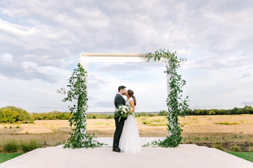 organic wedding altar