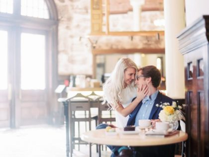 coffeeshop romance engagement session the driskill kristin la voie