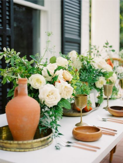 organic terracotta wedding scenes at the woodbine mansion