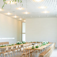 minimal white barn wedding