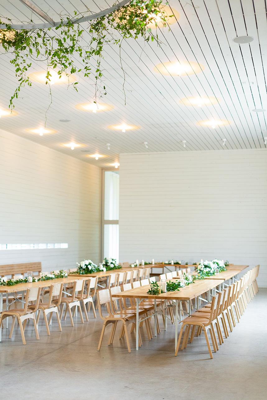 minimal white barn wedding