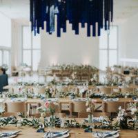 mid-century modern wedding reception