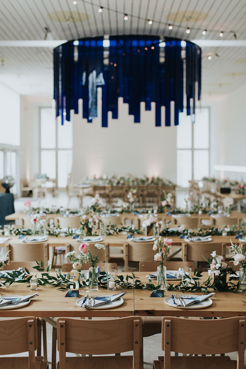 mid-century modern wedding reception