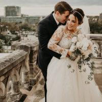 romantic bride and groom rooftop portrait