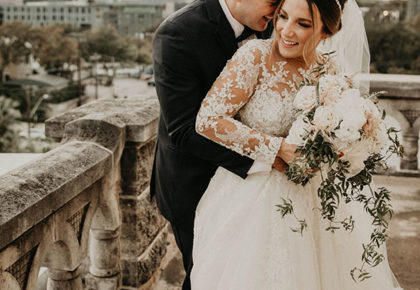 romantic bride and groom rooftop portrait