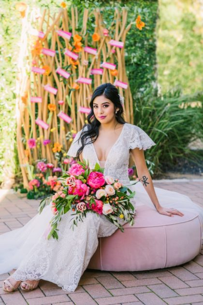 tropical boho vibes in a woodland garden shoot from kristin catter