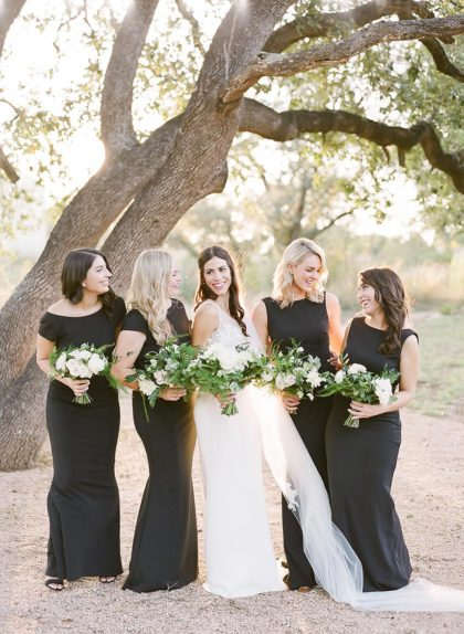 black bridesmaids dresses + wedding guest attire phrases to know