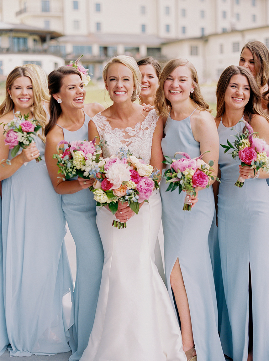 baby blue bridesmaids' dresses