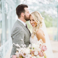 romantic bride and groom portrait