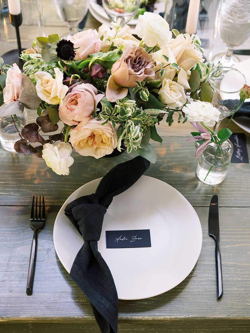elegant black and white place setting