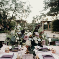 modern purple reception decor