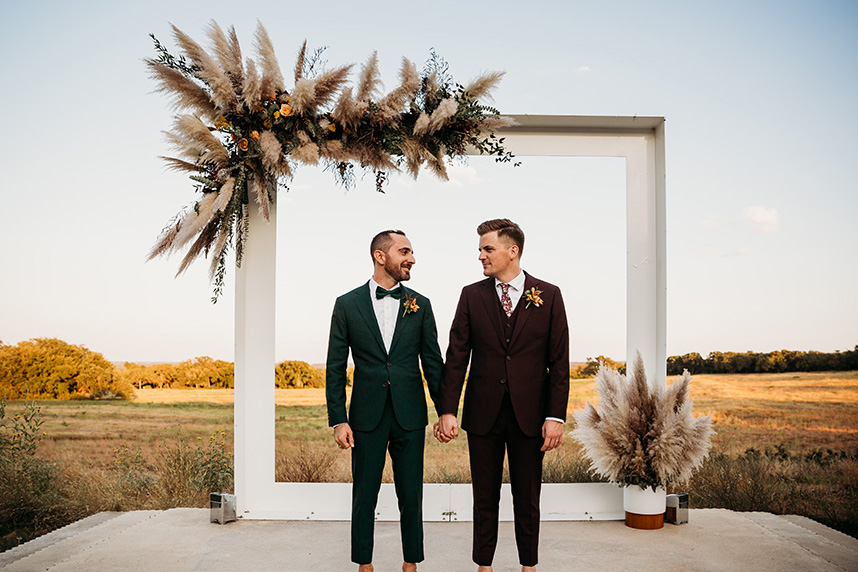 jewel toned groom and groom