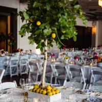 bright colored reception decor