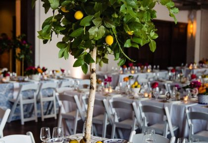 bright colored reception decor