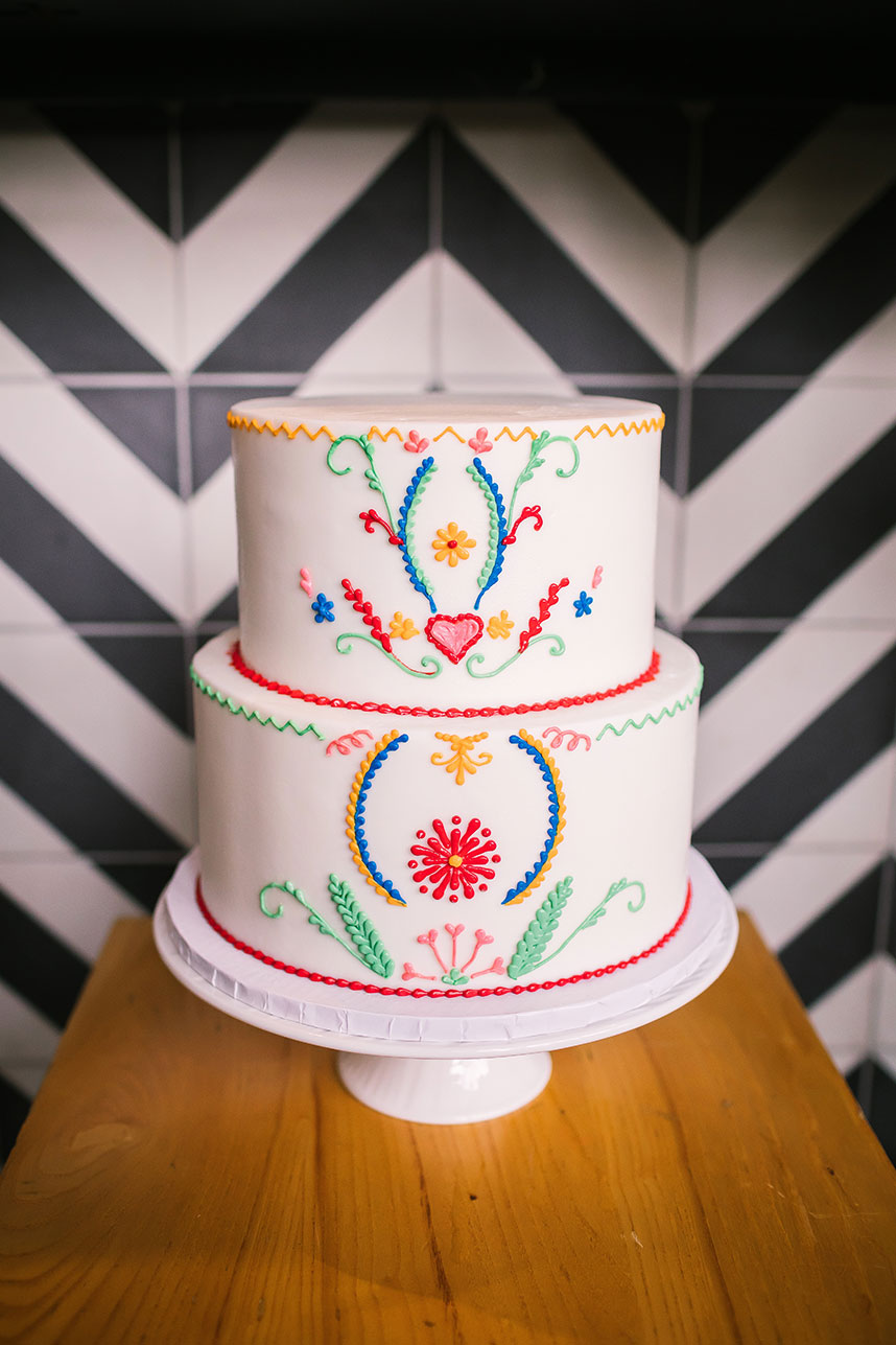 Mexican flair wedding cake