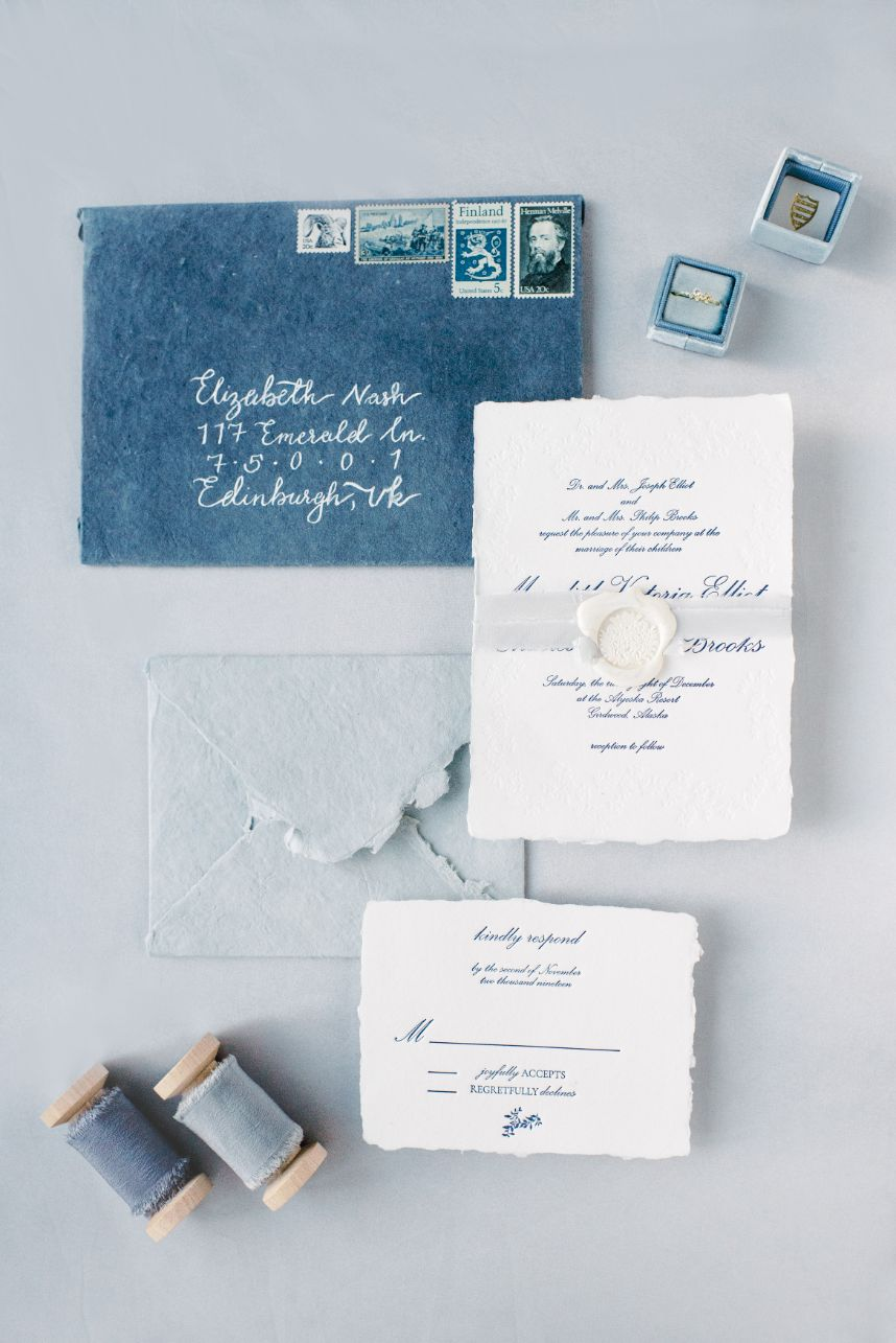 grey meets gold blue wedding invitation