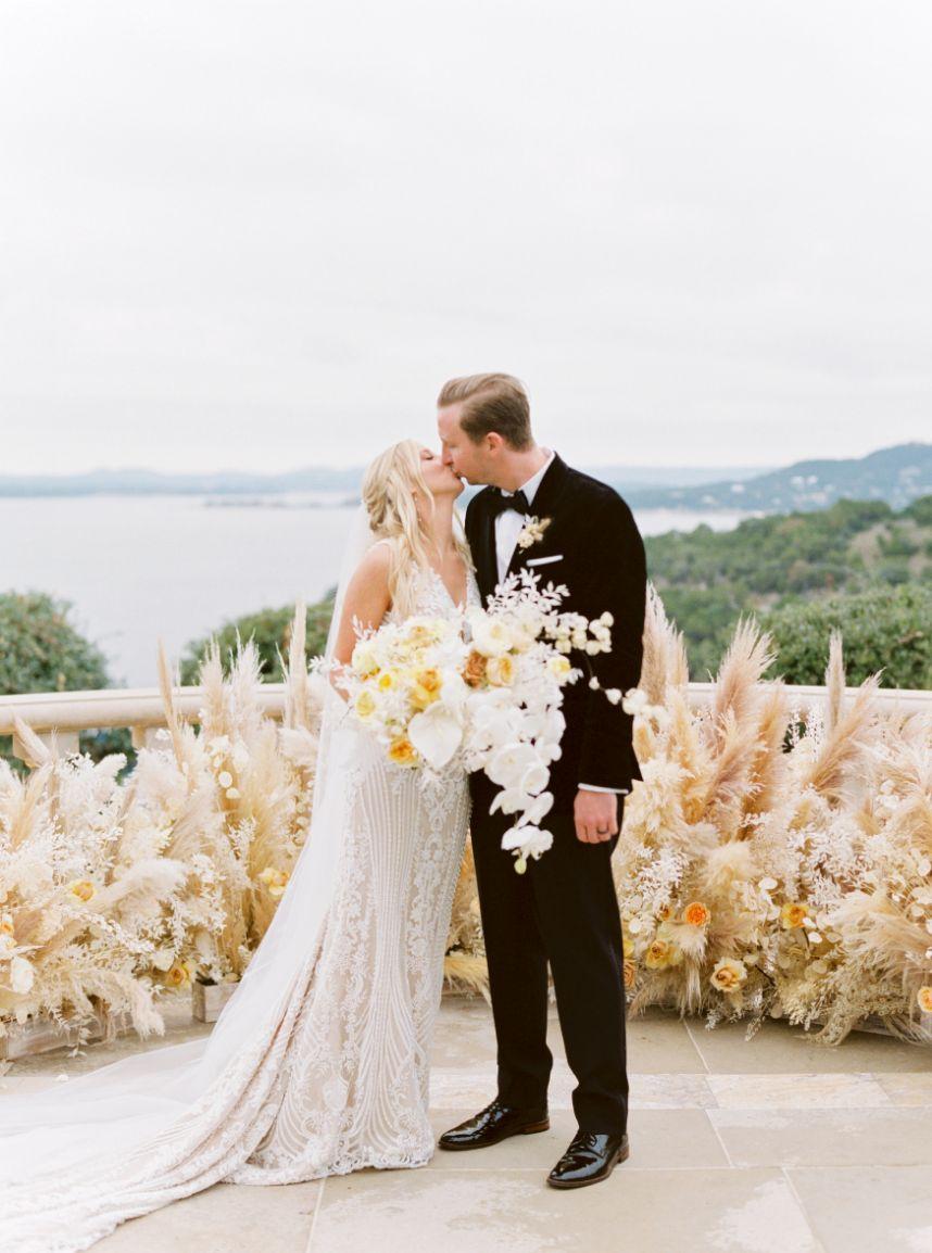 boho elegant golden wedding couple
