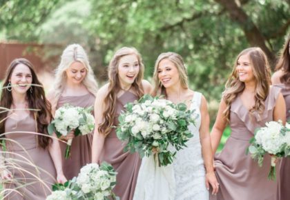 muave bridesmaids dresses, classic bridesmaids shot